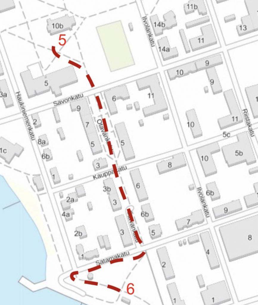 Kulkureitti kartalla kirkolta Leijonapuistoon